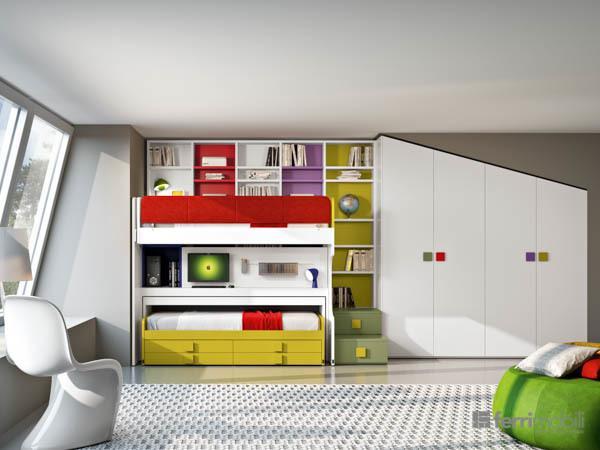 Cameretta con letti soppalco e armadio su misura bottega d 39 arte snc arredamenti - Camerette bambini su misura ...